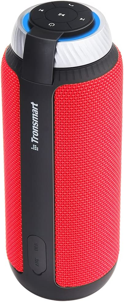 Tronsmart T6 Altavoz Bluetooth, 25W 360° Sonido Grave Subwoofer con 15 Horas de Reproducción continua Manos Libres Inalámbrico Portátil Altavoz para Móvil -Rojo