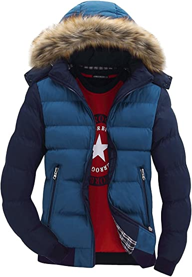 Tanming Mens Winter Warm Cotton Padded Full-Zip Hooded Puffer Jacket Coats