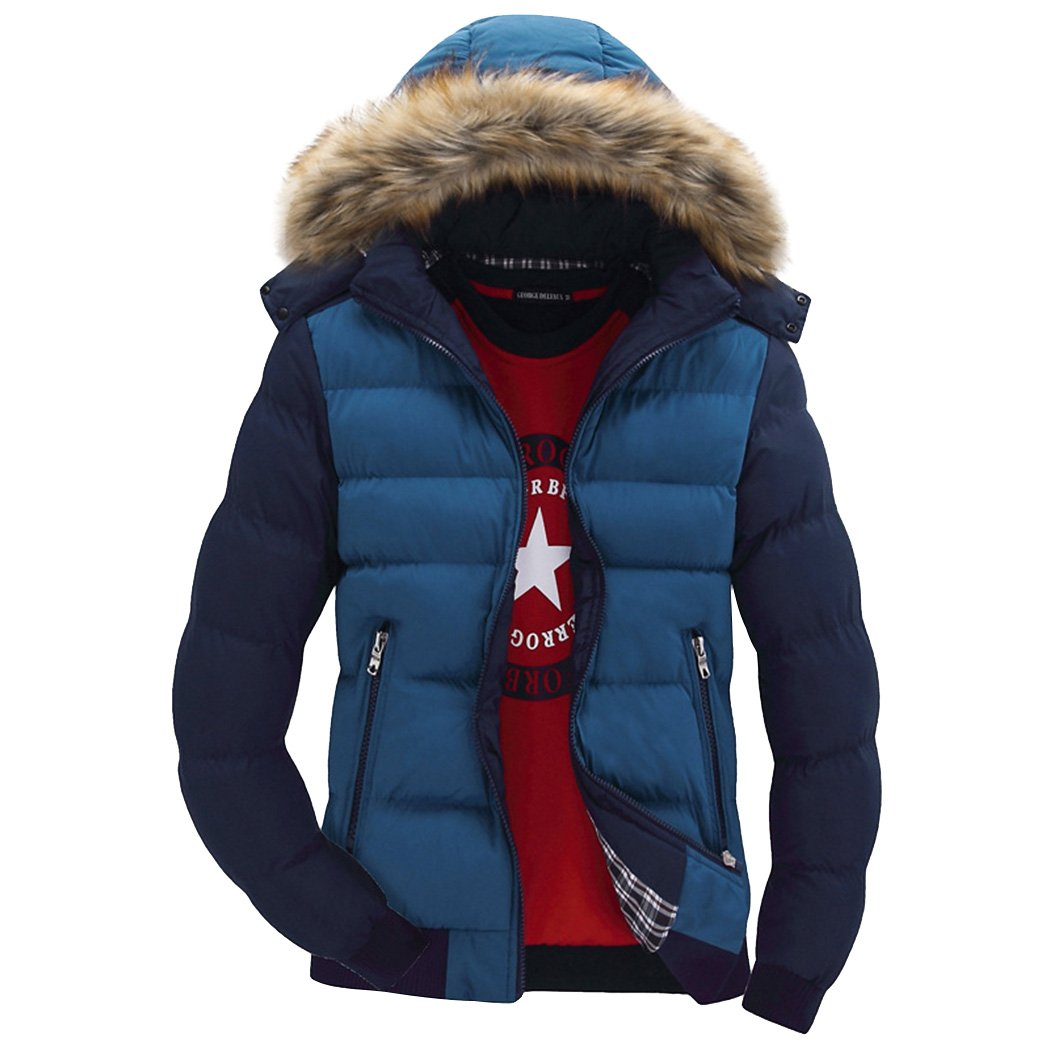 Real Spark Men's Winter Snow Puffer Coats Fur Hooded Thicken Padded Warm Down Jacket