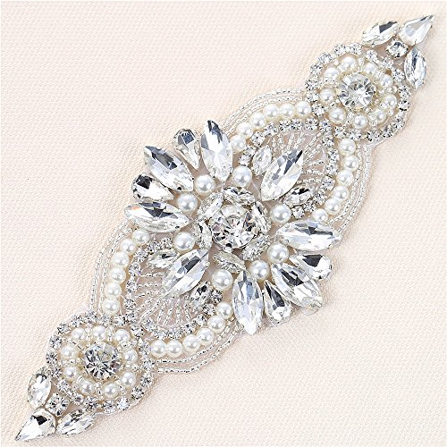 Bridal Wedding Apliques Sewn Iron on Rhinestone Belts Sashes Sparkle Thin lightweight for DIY Women Dress Clothing Headbands Headpieces Garters Tiaras Veils Hats Shoes Bags - Silver from XINFANGXIU
