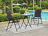 Patio Tree Outdoors 3Pcs Wicker Folding Bistro Set, 2 Armed Wicker Chair+ 1 Glass Top Folding Table, Garden Backyard Furniture