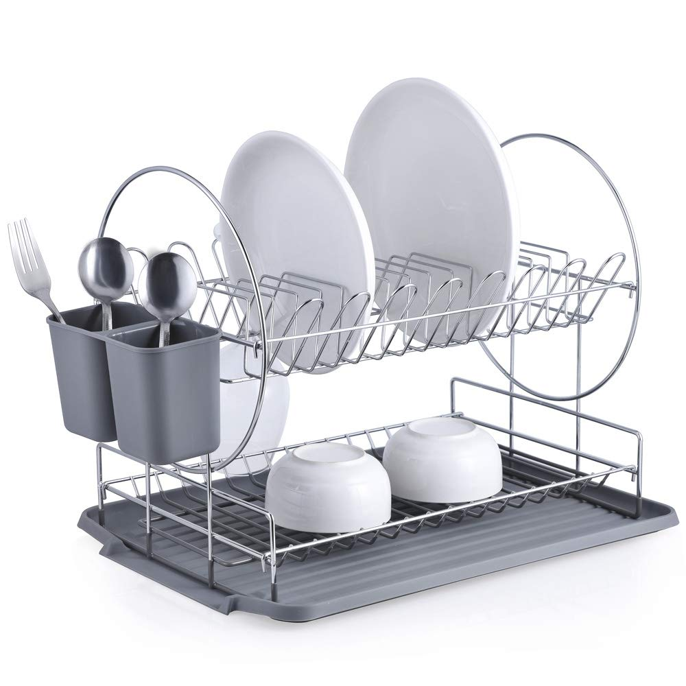 GaoYu Dish Drying Rack, Chrome-plated Stainless Steel 2-Tier Dish Rack with Drainboard/Cutlery Cup