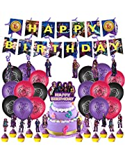 Descendants birthday party supplies,Banner,big cake topper,Spiral ornament,Cupcake Toppers,for Descendants theme Birthday Party Supplies Decorations