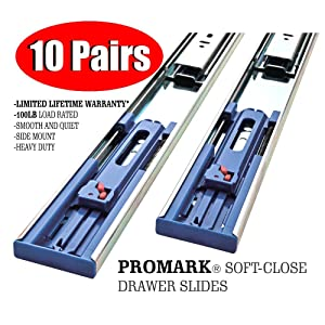 Promark 22 Inch 100 LB Capacity Full Extension Soft / Self Close Ball Bearing Side Mount Drawer Slides - 10 Pair Pack