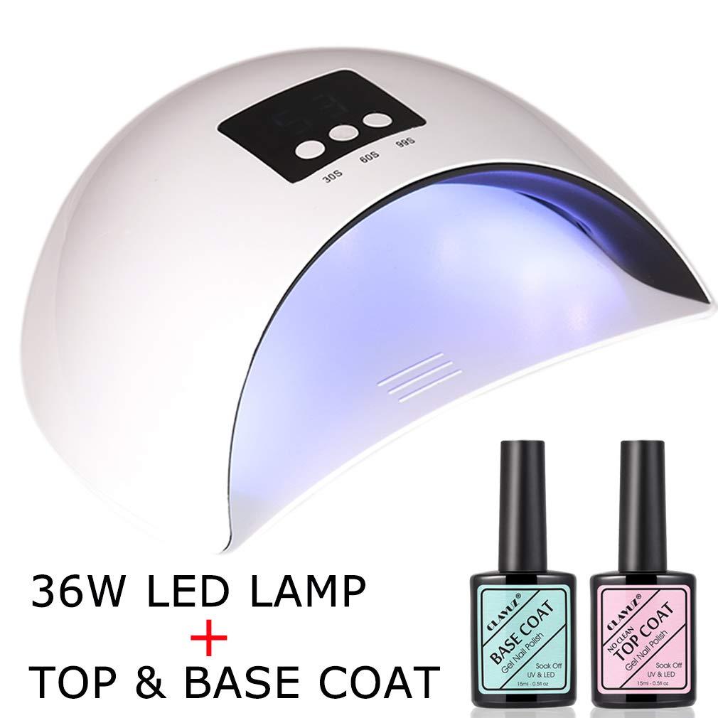 Amazon.com : CLAVUZ Soak Off UV LED Nail Light Lamp with Top Coat ...
