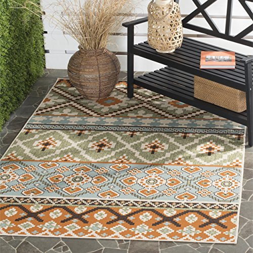 Southwestern Patio Furniture - Safavieh Veranda Collection VER097-0745 Indoor/ Outdoor Green and Terracotta Contemporary Southwestern Area Rug (5'3