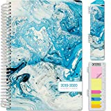 HARDCOVER Academic Year 2019-2020 Planner: (June 2019 Through July 2020) 5.5''x8'' Daily Weekly Monthly Planner Yearly Agenda. Bonus Bookmark, Pocket Folder and Sticky Note Set (Blue Marble)