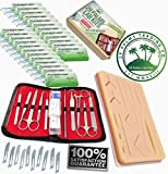 Complete Practice 45pcs Dissection & Suture Kit for Med Students: Includes Silicone Suture Pad with Base and Wounds, Stainless Steel Tools, Leather Carrying Case, 24X Nylon Suture Needle and Thread