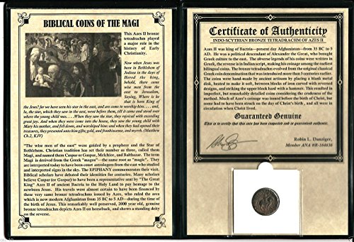 1 IT magi ANCIENT Biblical Coin of The Magi,Silver Tetradrachm of Azes II,35 BC-5 AD,- Includes Certificate and...