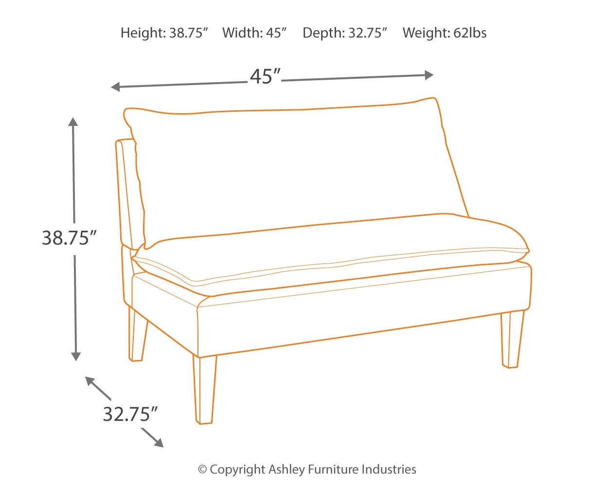 Signature Design by Ashley A3000112 Arrowrock Accent Bench, Settee by Signature Design by Ashley (Image #4)