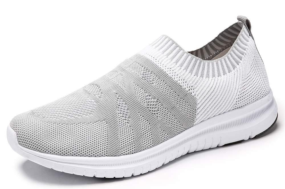 QIUYIXI Men's Slip On Walking Shoes Lightweight Causual Running Sneakers Black/White 11