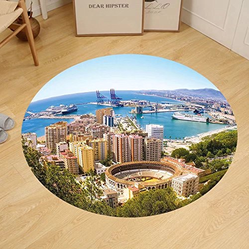 Gzhihine Custom round floor mat Landscape Aerial View of Malaga with Bullring and Harbor Spain Traditional European City Bedroom Living Room Dorm Multicolor by Gzhihine