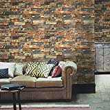 Blooming Wall Faux Vintage Brick Stone Wood Panel Peel and Stick Wall Decor Self Adhesive Wallpaper
