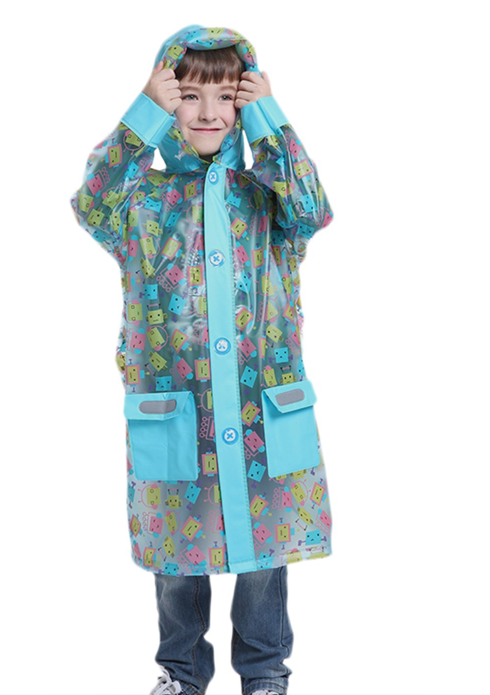 LINENLUX Kids Raincoat Jacket Waterproof Rainwear with Backpack Cover