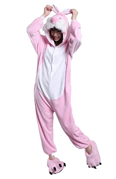 Honeystore New Cute Pink Rabbit Pajamas Anime Cosplay Costume Unisex Adult  Onesie S b69053319