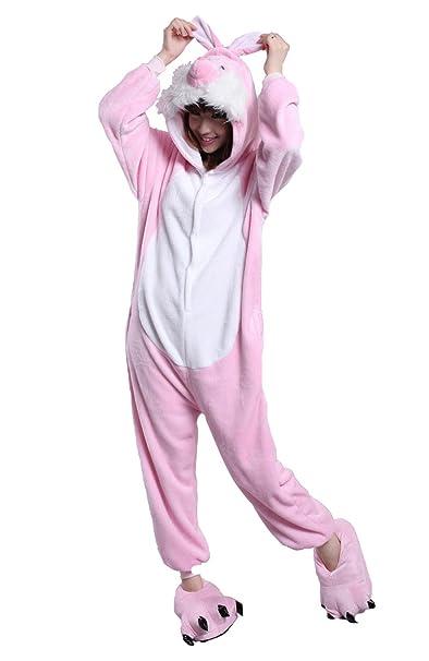 Honeystore New Cute Pink Rabbit Pajamas Anime Cosplay Costume Unisex Adult  Onesie S b69053319