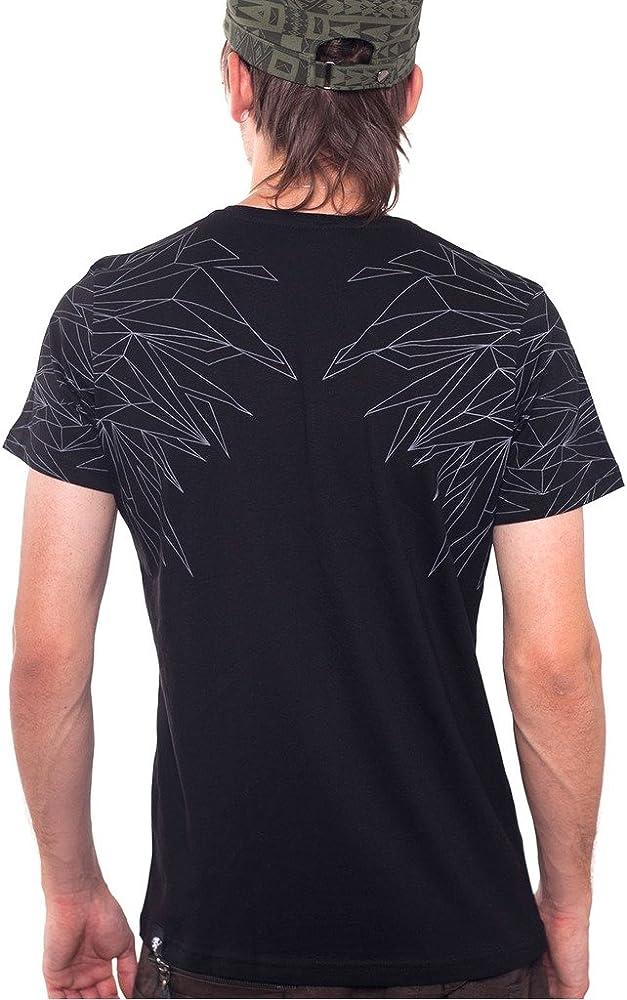 Camiseta Búho metálico - Serigrafía Frontal y Posterior de Ave Nocturna en algodón 100% para Hombre - Talla L, Negro: Amazon.es: Ropa y accesorios