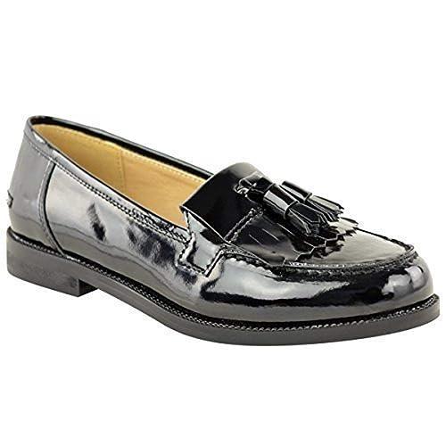 Mujer Zapatos Plano Casual Oficina Escuela Borla Zapato Oxford - Negro charol, 39: Amazon.es: Zapatos y complementos