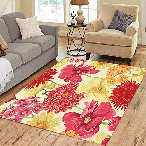 Pinbeam Area Rug Yellow Flower Floral in Watercolor Red Pattern Leaf Home Decor Floor Rug 5' x 7' Carpet (Plant With Red Leaves And Yellow Flowers)