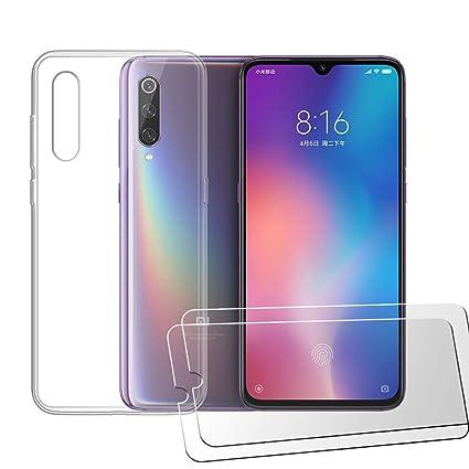 LJSM Funda para Xiaomi Mi 9 SE Transparente Carcasa Silicona TPU Suave Caso Case + [2 Piezas] Protector de Pantalla Templado Film Película Protectora ...