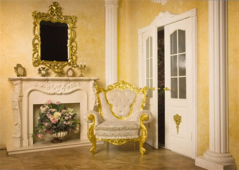 10x6.5ft European Archiculture Golden Frame Backdrop Sofa Fireplace Fresh Flowers White Pillars Wood Door Shabby Wooden Floor Interior Photography Background Kids Adults Photo Studio Prop