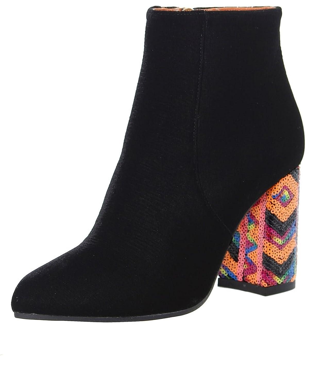 Bams Women's Velvet Sequin Heel Boots Black