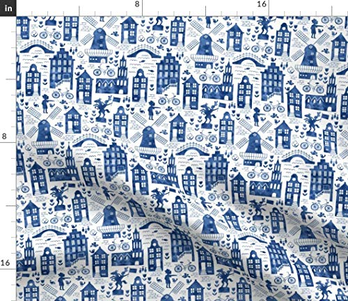 Holland Fabric - in Royal Delft Blue Watercolors Small City Toile Travel Europe Windmill Bike Print on Fabric by The Yard - Sport Lycra for Swimwear Performance Leggings Apparel Fashion