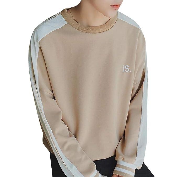 Rdhope Men Basic Baggy Juniors Crew Neck Long Sleeve Sweatshirts T