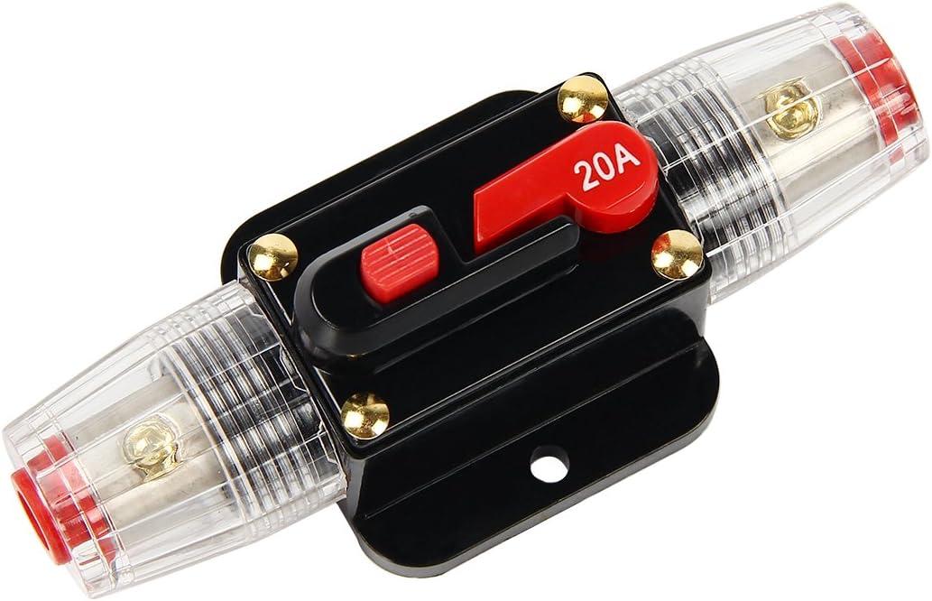 Latinaric 12V-24V DC Interruptor de Ajuste Manual En Línea de Circuito Automático Interruptor Fusible, 20A/30A/40A/50A/60A/80A/100A/150A