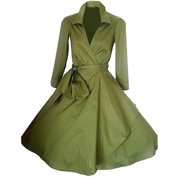 WintCO Femme Manteau Robe Rétro Vintage Années 50 's Style Audrey Hepburn Classique Coton Plusieurs Couleurs