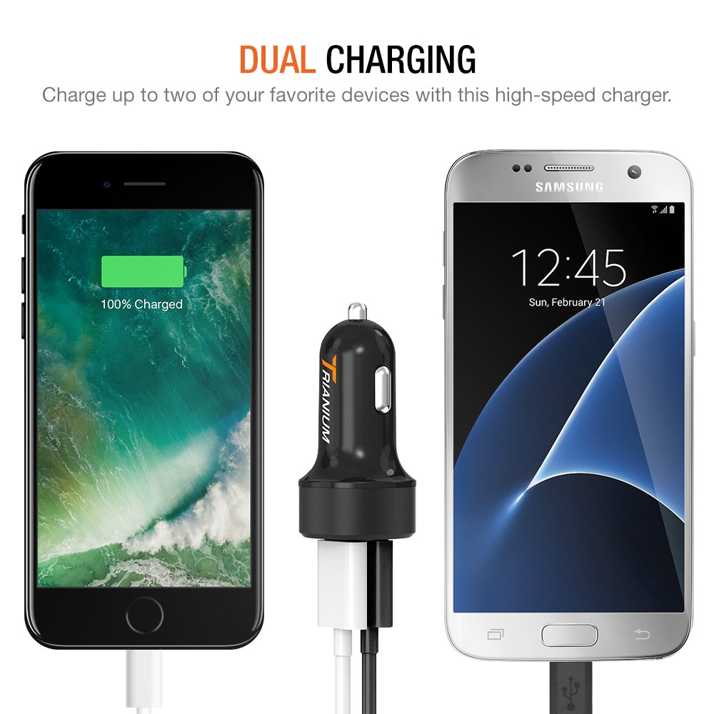 Note 9 8 5 HTC TM000054 LG G6 Galaxy S9 S8 S7 Edge 2-Pack Trianium Car Charger 24W 4.8A Dual USB Phone Charger with AtomicDrive Smart Ports for iPhone XR XS Max X 8 7 6s 6 SE Plus iPad Pro//Air//Mini