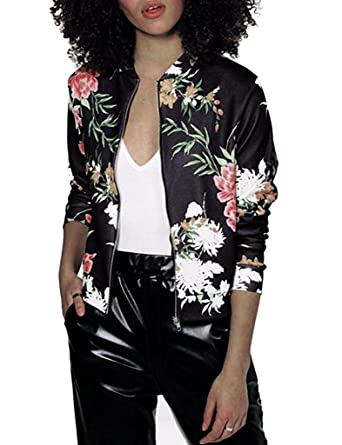 M.Brock Womens Tropical Floral Print Classic Quilted Baseball Jacket Fall Zip-Up Short