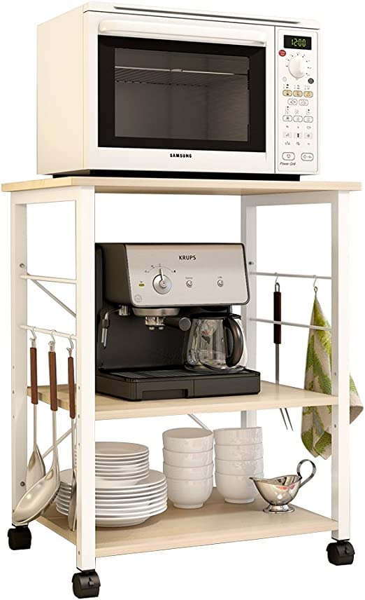soges 3-Tier Kitchen Bakers Rack Utility Microwave Oven Stand Storage Cart Workstation Shelf, White Oak W4-MP-N
