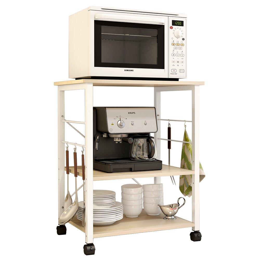 DlandHome 23.6 Microwave Cart Stand Kitchen Utility Storage 3-Tier for Baker's Rack & Spice Rack Organizer Workstation Shelf,Maple