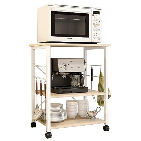 soges Estante para Máquina de Café de Microondas de 3 Gradas Almacenamiento para Cocina Gabinete Estante