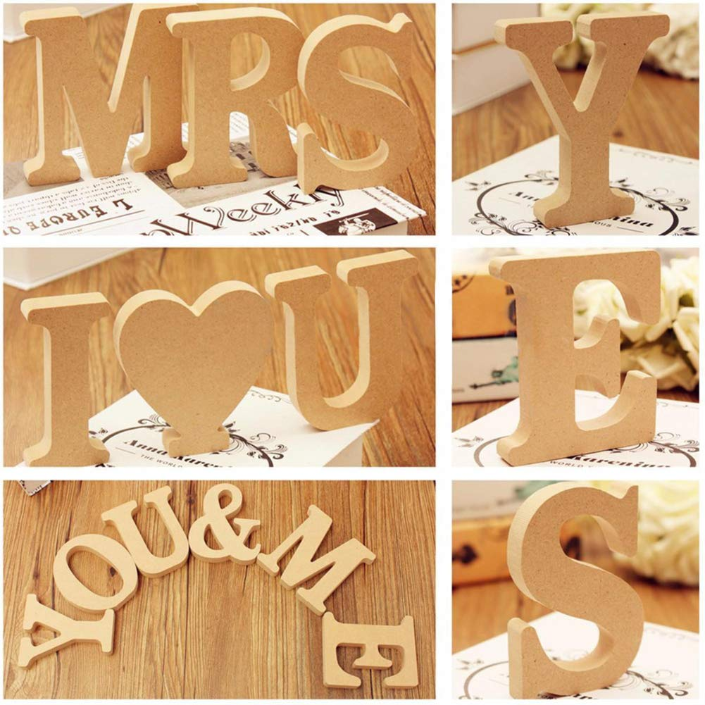 Hanging Wall 26 Letters Wooden Alphabet Wall Letter for Children Baby Name Girls Bedroom Wedding Brithday Party Home Decor-Letters 4 Inch High Decorative Wood Letters