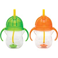 Munchkin Click Lock 7 Ounce Weighted Flexi-Straw Cup, 2 Pack, Green/Orange