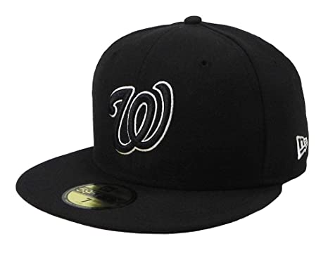New Era 59Fifty Men's Hat Washington Nationals Black/White Fitted Headwear  Cap (6 7