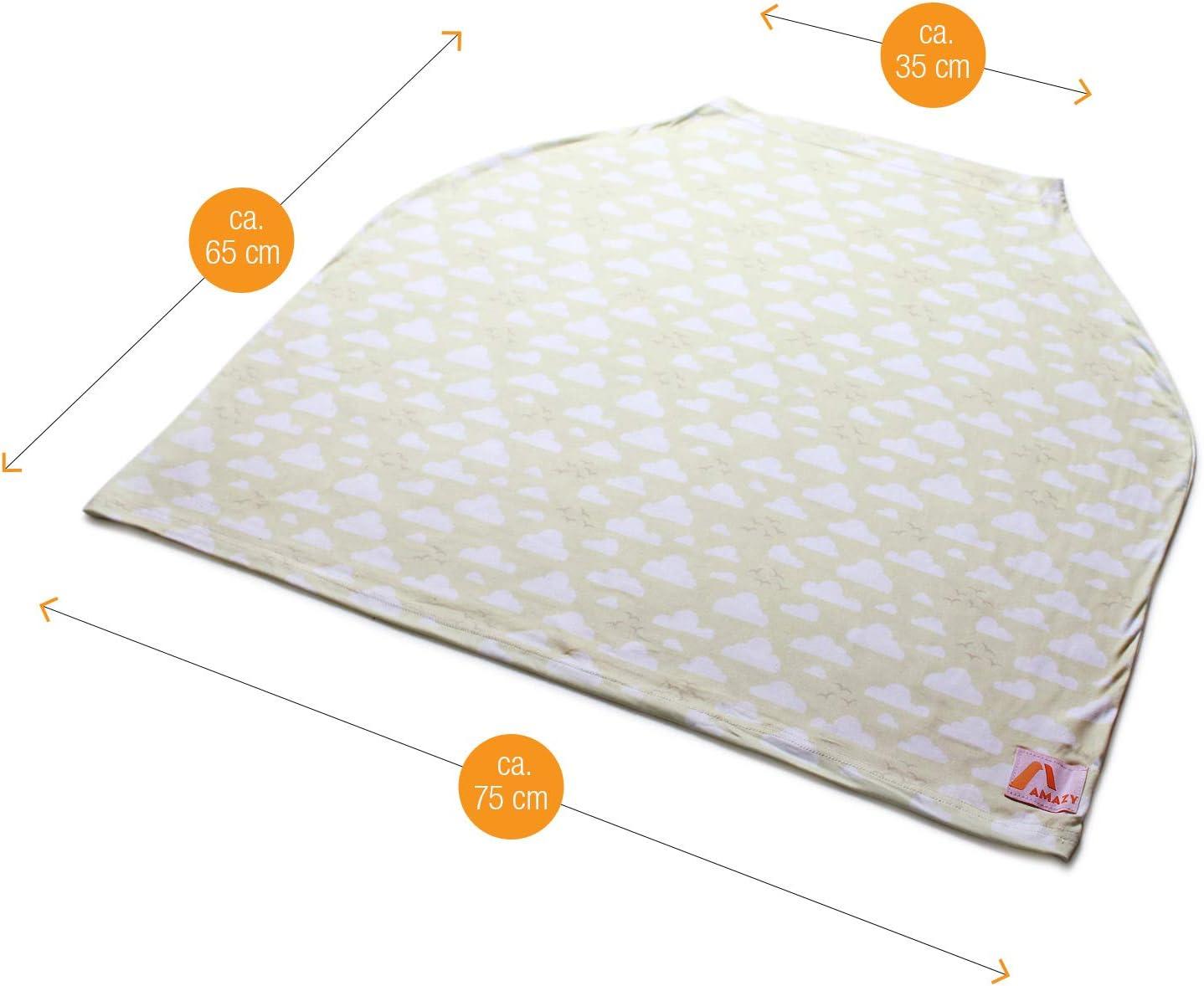 Amazy /Écharpe d/'allaitement multifonction Ch/âle extensible XL pour un allaitment en toute discretion Rose, 70 x 70 cm