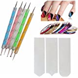 FOK Nail Art Combo 5pc Nail Art Pen Set,10 pc Stripping Roll Tape And A French Manicure Nail Art Tip Sticker