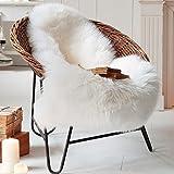 Faux Fur Sheepskin Rug 60 x 90 cm Faux Fleece Chair Cover Seat Pad Soft Fluffy Shaggy Area Rugs (White)