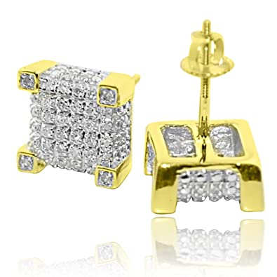 1bd4b661c8a83 Diamond Earrings Real Gold Cube Shaped Pave Set Diamonds Screw Back 0.27ctw  9mm Wide