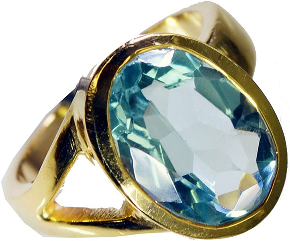 Jewelryonclick Round Shape Blue Topaz CZ Gold Plated Rings Her Birthday Gift Size 5,6,7,8,9,10,11,12