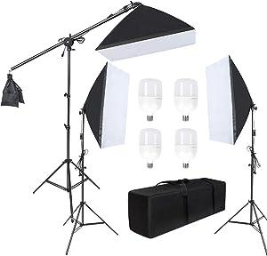 "LTRINGYS Softbox Lighting Kit Photography Continuous Light System 20""X28"" Boom Arm Headlight Lighting Kit with Sandbag Photo Studio Equipment with 4 PCS 5500K LED Bulbs 2M Adjustable Light Stand"