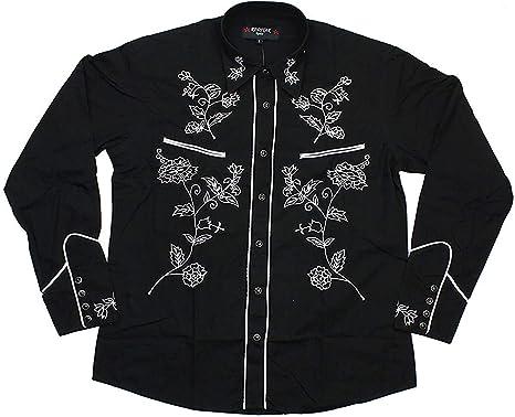 Redstar Rodeo - Camisa Casual - Floral - Clásico - Manga Larga - para Hombre Negro Negro XX-Large: Amazon.es: Ropa y accesorios