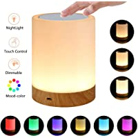Echoming Luz de Noche Recargable, 6 Colores LED Lámparas de Mesa para Dormitorios Luz Táctil con Sensor con Regulable Blanco Cálido y RGB Color-Cambiante Luz Nocturna para Niños