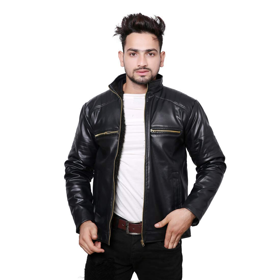 Life Trading Fashionable Faux Leather Jacket for Men and Boys