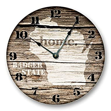 WISCONSIN State Map Wall Clock old weathered boards rustic cabin country decor