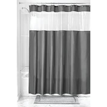 Amazoncom Interdesign Fabric Shower Curtain With Clear Window For