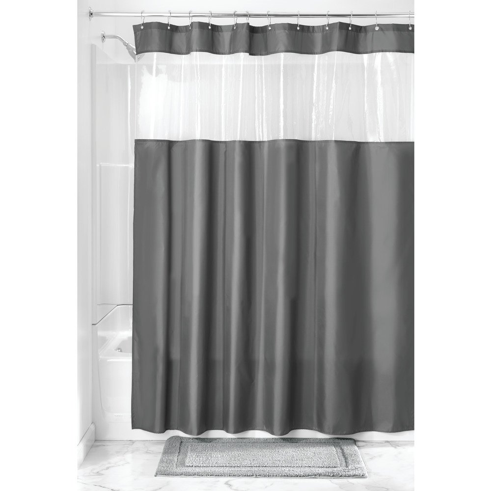 InterDesign Fabric Shower Curtain with Clear Window for Bathroom - 72'' x 72'', Charcoal/Clear